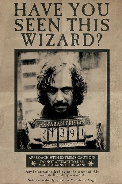 Poster Harry Potter Wanted Sirius Black X